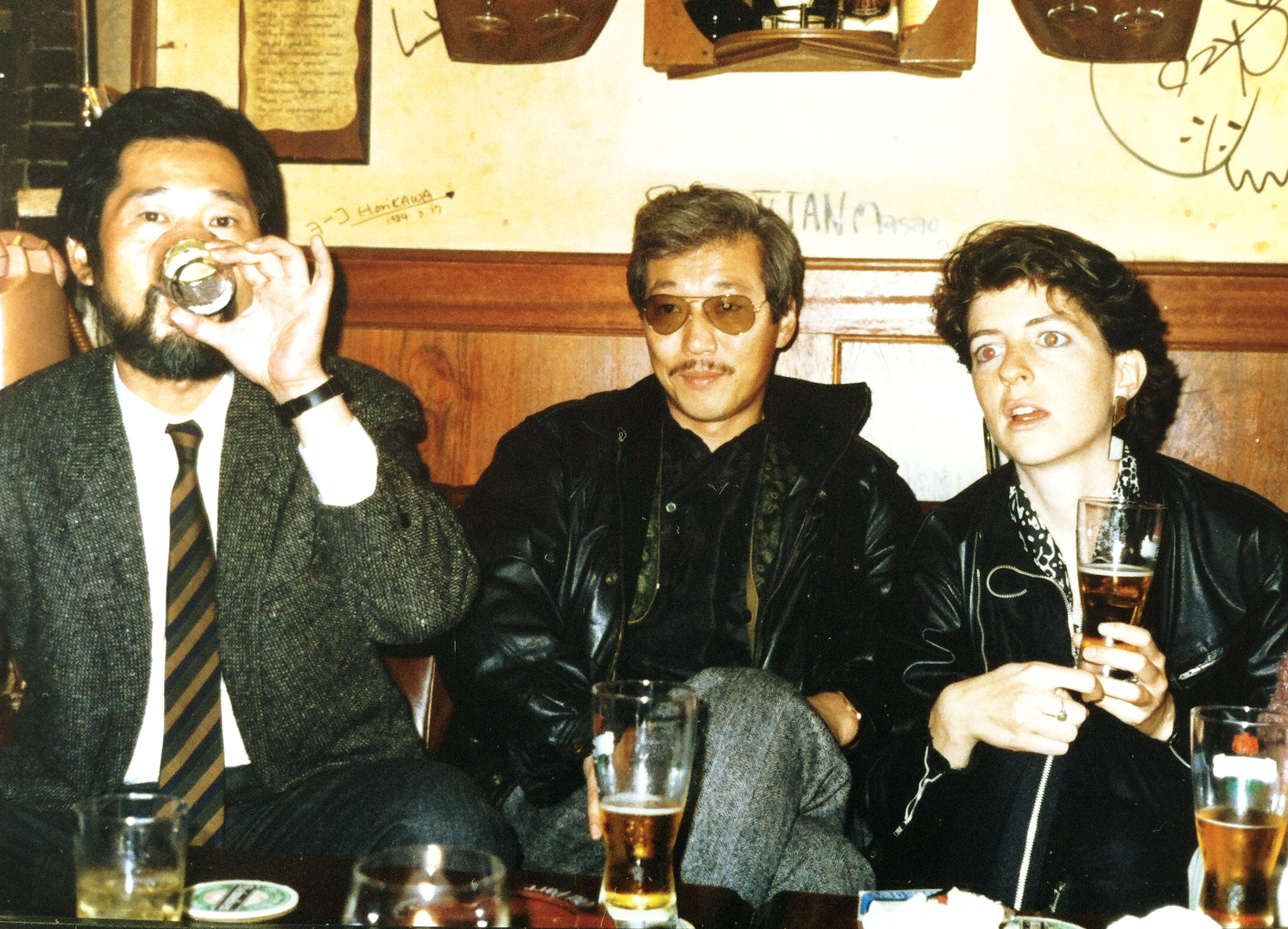 A bewildered looking me with Watanabe-san and Suzuki-san in the early 1980s.